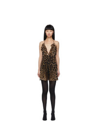 Saint Laurent Beige Leopard Babydoll Slip Dress