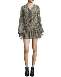 Saint Laurent Leopard Print Silk Flounce Minidress