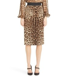 Dolcegabbana leopard print stretch silk pencil skirt medium 4990462