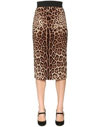 Leopard stretch silk cady pencil skirt medium 3778439