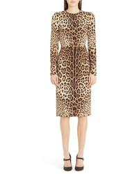 Dolce & Gabbana Dolcegabbana Leopard Print Stretch Silk Sheath Dress