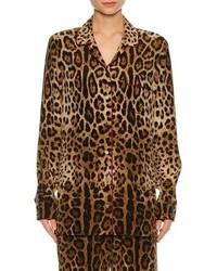 Dolce & Gabbana Leopard Print Silk Pajama Shirt Leopard