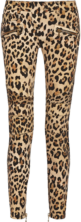 Balmain Leopard Print Mid Rise Skinny Jeans | Where to buy & how ...