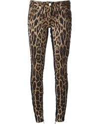 Roberto Cavalli Leopard Print Skinny Jeans
