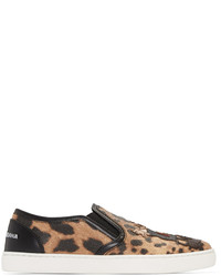 Black tan leopard print slip on sneakers medium 846940