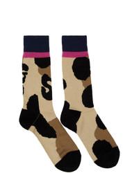 Sacai Beige And Black Leopard Socks