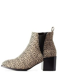 Charlotte Russe Leopard Print Pointed Toe Chelsea Boots
