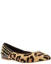 Tan Leopard Suede Ballerina Shoes