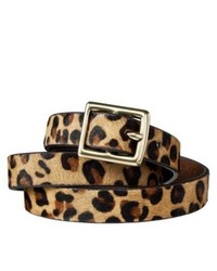 Merona Leopard Print Calf Hair Belt Browntan S