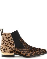Tan Leopard Suede Chelsea Boots