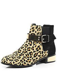 Brown leopard print pony skin chelsea boots medium 90435