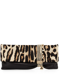 Jimmy Choo Chandra Leopard Print Half Calf Hair Charm Clutch Bag