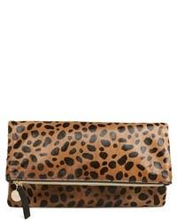 Clare Vivier Clare V Genuine Calf Hair Leopard Print Foldover Clutch Beige