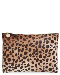 Clare v genuine calf hair leopard print zip clutch medium 436134