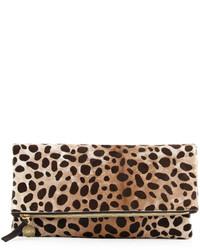 Clare v supreme leopard print fold over clutch bag medium 381932