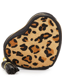 Neiman Marcus Leopard Calf Hair Heart Pouch Tan