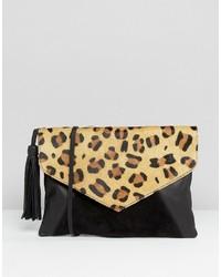 Leather envelope cross body bag with tassel medium 3650376