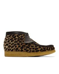 Clarks Originals Beige And Black Pony Hair Leopard Wallabee Boots
