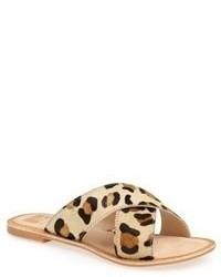 Tan Leopard Suede Flat Sandals