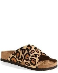 ab93488a730da6 Tan Leopard Suede Flat Sandals for Women