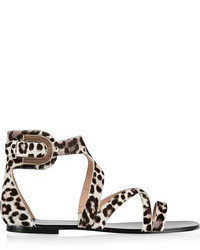 Cadeey leopard print calf hair sandals medium 62053