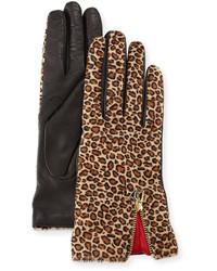Tan Leopard Suede Gloves