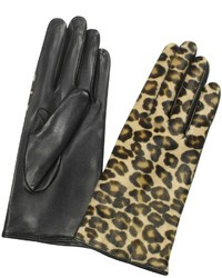 Forzieri Leopard Pony Hair And Italian Nappa Leather Gloves