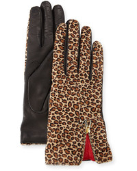 Leopard print calf hairleather gloves medium 383341