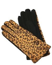 Sylvia Alexander Sylvia Alexander Leopard Print Faux Fur Knit Gloves