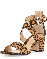 Gianvito Rossi Leopard Print Calf Hair Low Heel Sandal