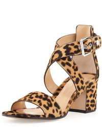 Leopard print calf hair low heel sandal medium 419850