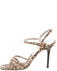 Suede leopard print sandals medium 749312
