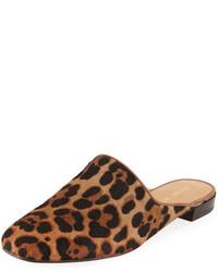 Stuart Weitzman Mulearky Calf Hair Loafer Mule Leopard