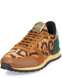 Rockstud leopard print calf hair sneaker medium 191911
