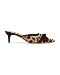 Alexandre Birman Daisy Ed Leopard Print Calf Hair Mules