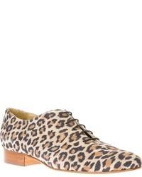 Tan Leopard Suede Oxford Shoes