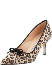 Manolo Blahnik Bori Leopard Print Bow Mid Heel Pump
