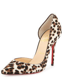 Christian Louboutin Iriza Calf Hair Dorsay Red Sole Pump Leopardwhite