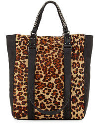 Tan Leopard Suede Tote Bag