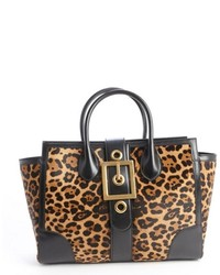 Gold and black printed calf hair buckle front tote medium 219291