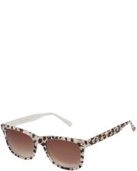 Betsey Johnson Tan Leopard Rectangle Sunglasses