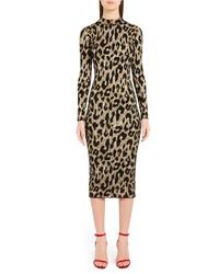 Versace Leopard Print Body Con Dress