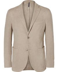 Incotex Beige Slim Fit Linen And Cotton Blend Blazer