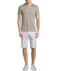 Short sleeve linen polo shirt vintage khaki medium 641633