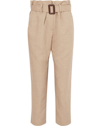 Brunello Cucinelli Linen And Cotton Blend Tapered Pants