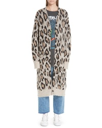 R13 Long Leopard Cashmere Cardigan