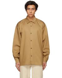 King & Tuckfield Brown Pleated Sleeve Oversized Shirt