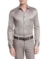 Ermenegildo Zegna Cottonsilk Long Sleeve Sport Shirt Light Brown