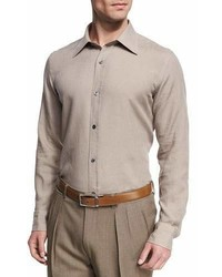Tom Ford Linen Point Collar Slim Fit Shirt Tan