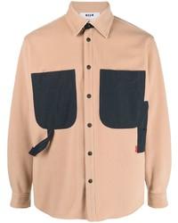 MSGM Two Tone Design Long Sleeve Shirt